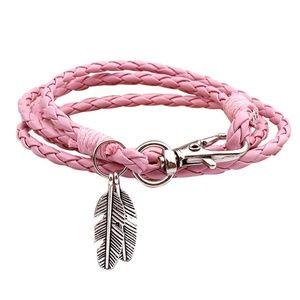 Jewelry - Boho Feather Tassel Pink Leather Wrap Bracelet